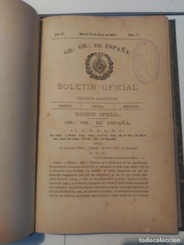 BOLETIN OFICIAL Y REVISTA MASÓNICA (Libros Antiguos, Raros y Curiosos - Pensamiento - Otros)