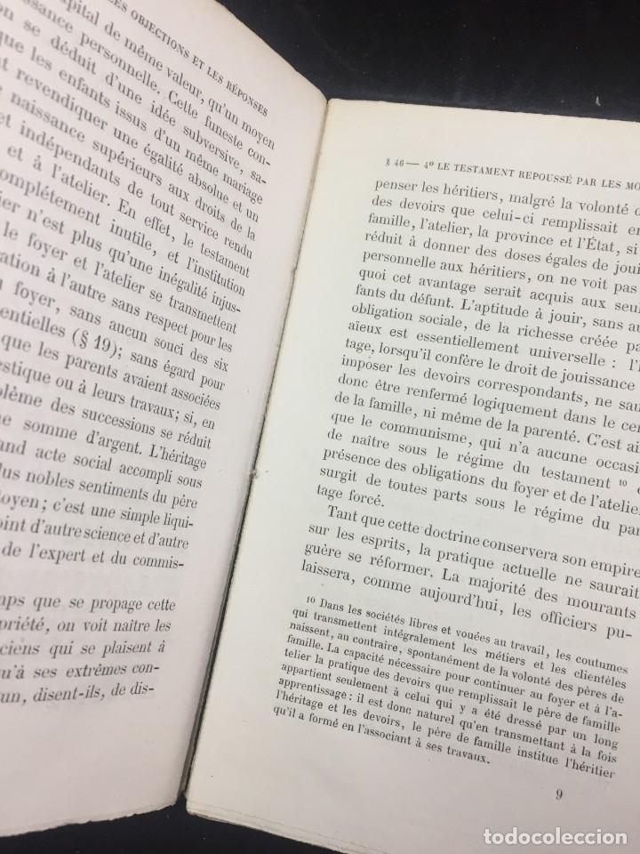 Libros antiguos: Lorganisation du travail, selon la coutume des ateliers et la loi du Décalogue. Le play Tours 1870. - Foto 9 - 231499915