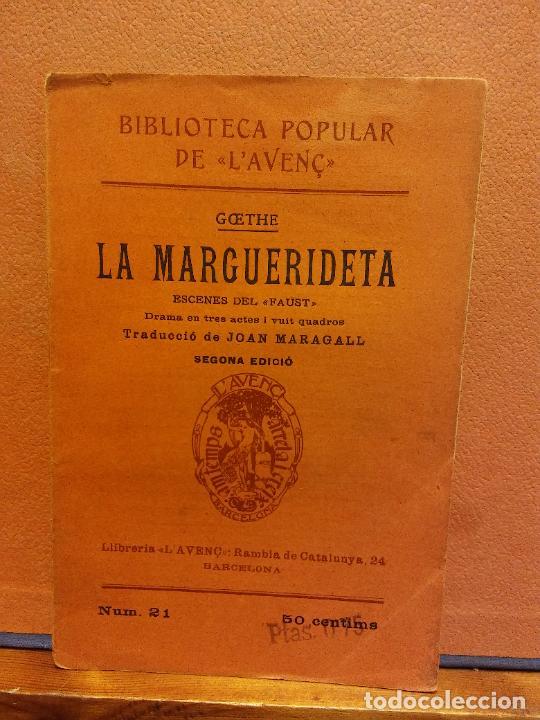 LA MARGUERIDETA. GOETHE. LLIBRERIA L'AVENÇ (Libros Antiguos, Raros y Curiosos - Otros Idiomas)