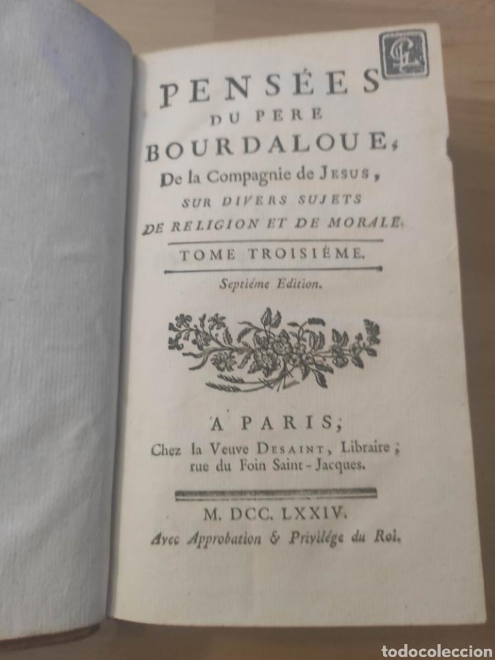 PENSAMIENTOS DEL PADRE BOURDALOUE COMPAÑÍA DE JESUS 1774 (Libros Antiguos, Raros y Curiosos - Pensamiento - Otros)