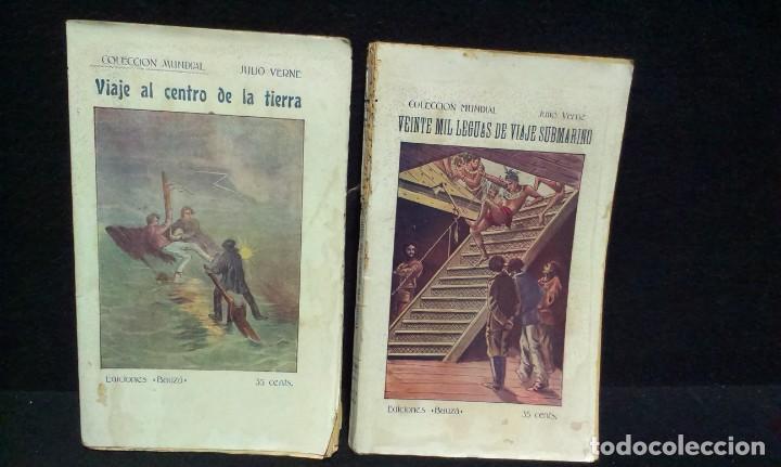 Libros antiguos: JULIO VERNE : VEINTE MIL LEGUAS DE VIAJE SUBMARINO + VIAJE AL CENTRO DE LA TIERRA - BAUZA - Foto 2 - 232762105