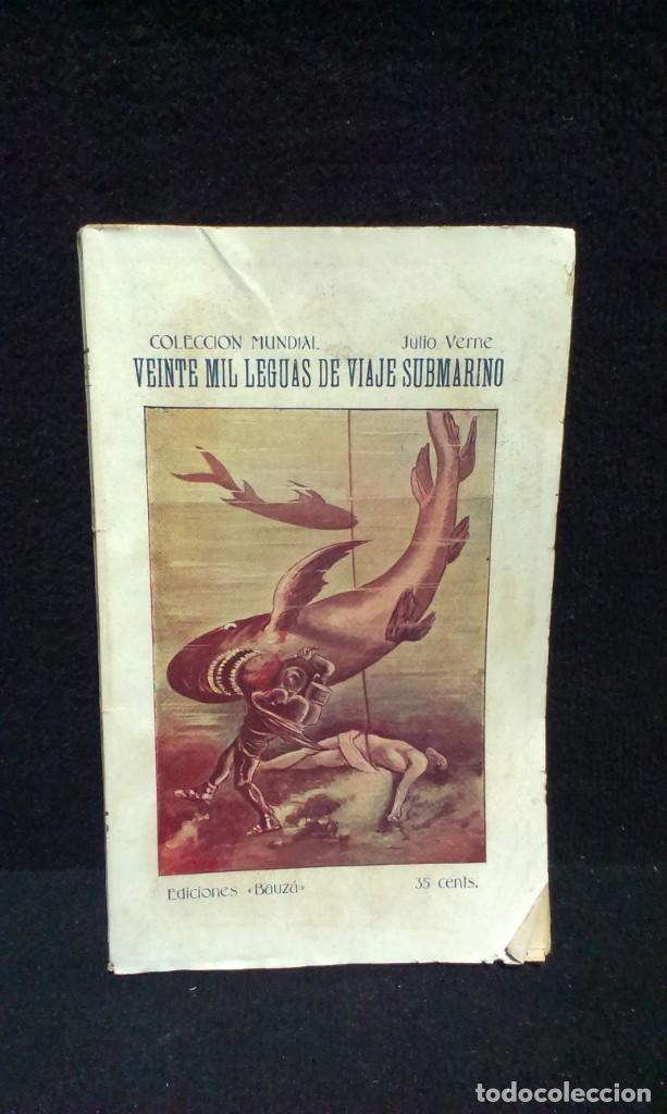 Libros antiguos: JULIO VERNE : VEINTE MIL LEGUAS DE VIAJE SUBMARINO + VIAJE AL CENTRO DE LA TIERRA - BAUZA - Foto 3 - 232762105