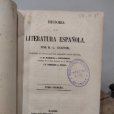 Libros antiguos: TICKNOR - HISTORIA DE LA LITERATURA ESPAÑOLA - MADRID 1851 - TOMO 1. Lote 233044425