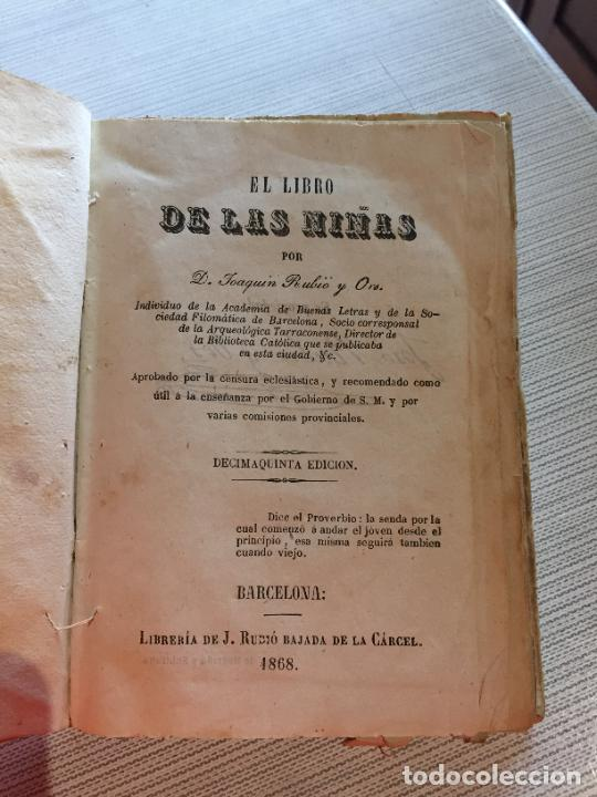 Libros antiguos: Antiguo libro el libro de las niñas por Joaquin Rubió y Oro año 1868 Barcelona - Foto 3 - 233181065