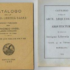 Libros antiguos: DOS CATÁLOGOS ANTIGUA LIBRERIA BARBA F.VINDEL LIBROS SIGLOS XIX XX ARTE Y ARQUOLOGÍA 1930 1933. Lote 234374560