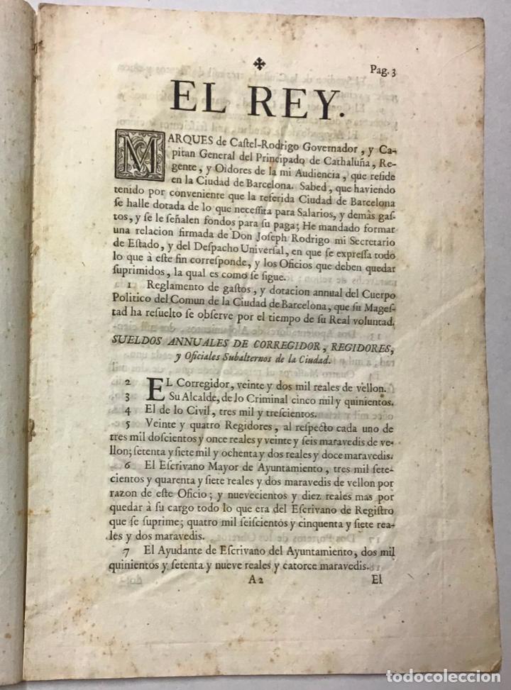 Libros antiguos: FELIPE V. REAL CEDULA DE DOTACION, EN LA QUAL... GASTOS ANUALES DEL OCMUN DE BARCELONA C.1718 - Foto 2 - 234839105