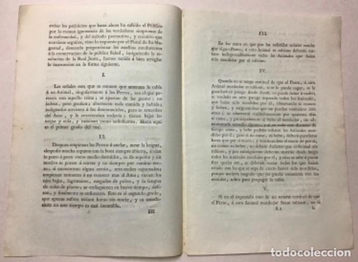 Libros antiguos: ASALTO, Conde del. iNSTRUCCIÓN sobre cómo actuar ante la presencia de perros rabiosos en las calles - Foto 3 - 234841265