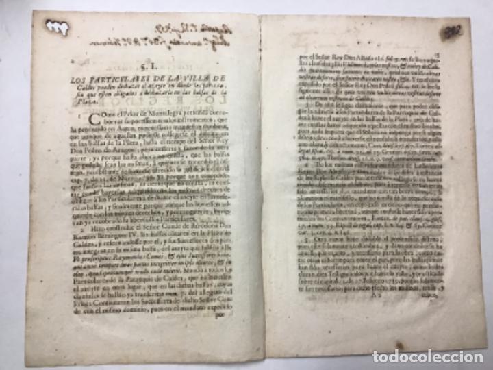 Libros antiguos: SANJOAN, Francisco. RESPUESTA POR LOS REGIDORES DE LA VILLA DE CALDES DE MONBUY A LA DUDA ... - Foto 2 - 234846575