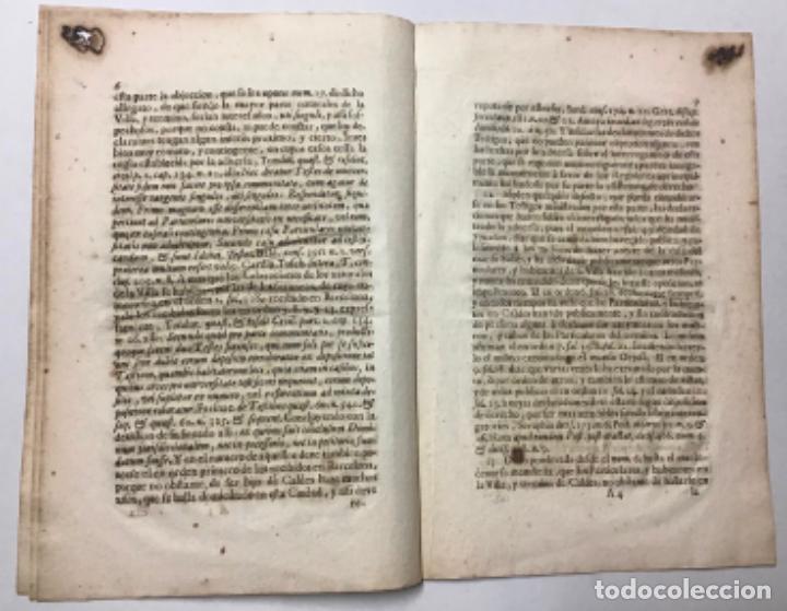 Libros antiguos: SANJOAN, Francisco. RESPUESTA POR LOS REGIDORES DE LA VILLA DE CALDES DE MONBUY A LA DUDA ... - Foto 3 - 234846575