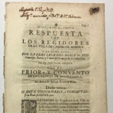 Libros antiguos: SANJOAN, FRANCISCO. RESPUESTA POR LOS REGIDORES DE LA VILLA DE CALDES DE MONBUY A LA DUDA .... Lote 234846575