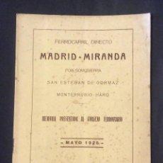 Libros antiguos: MADRID -MIRANDA POR SOMOSIERRA MEMORIA ,BILBAO 1925. Lote 235509015