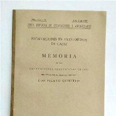 Livros antigos: MEMORIA DE LAS EXCAVACIONES DE CÁDIZ EN 1927. PELAYO QUINTERO ATAURI. MADRID, 1928. Lote 236012845