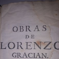 Livres anciens: OBRAS DE LORENZO GRACIAN TOMO SEGUNDO BARCELONA 1757. Lote 236561965