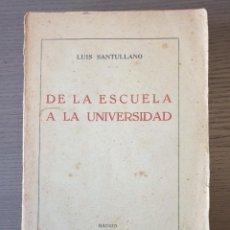Libros antiguos: DE LA ESCUELA A LA UNIVERSIDAD - LUIS SANTULLANO - 1930 - 1A EDICION CON DEDICATORIA DEL AUTOR. Lote 236915335