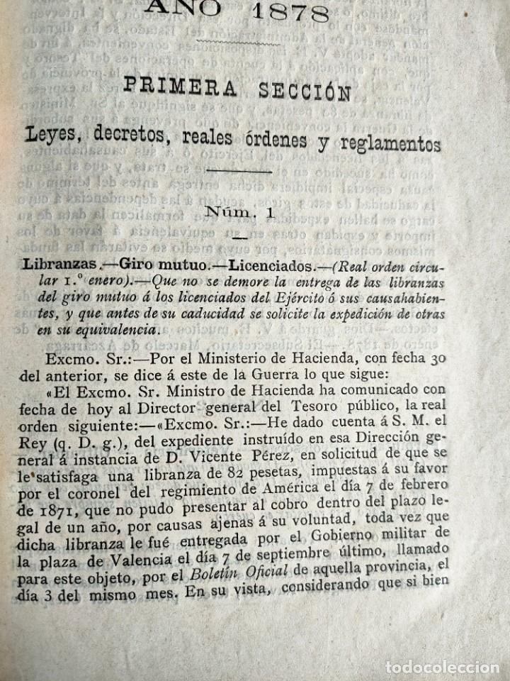 Libros antiguos: Colección legislativa del ejército.Ministerio guerra.Intendencia militar de valencia.año 1878.libro. - Foto 6 - 161678266
