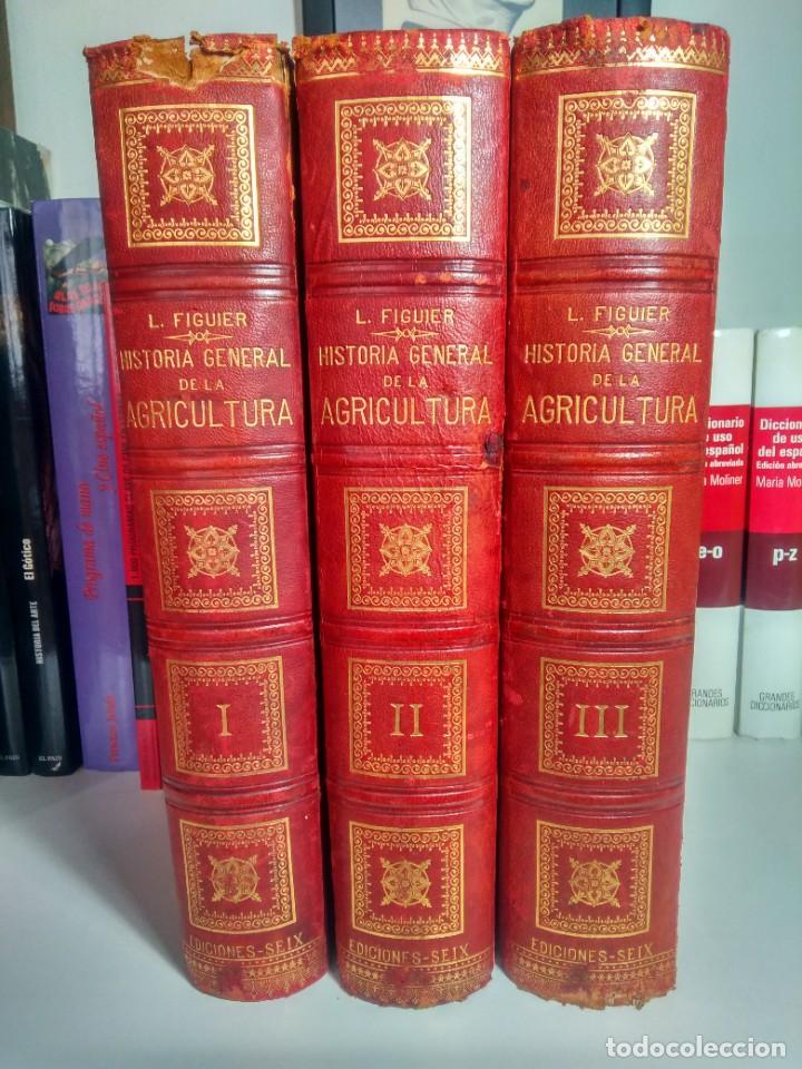 HISTORIA GENERAL DE LA AGRICULTURA - L. FIGUIER - FINES DEL S. XIX - 3 TOMOS - MEDIA PIEL (Libros Antiguos, Raros y Curiosos - Ciencias, Manuales y Oficios - Otros)