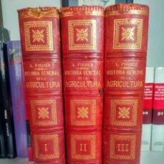 Libros antiguos: HISTORIA GENERAL DE LA AGRICULTURA - L. FIGUIER - FINES DEL S. XIX - 3 TOMOS - MEDIA PIEL + REGALO. Lote 237272205