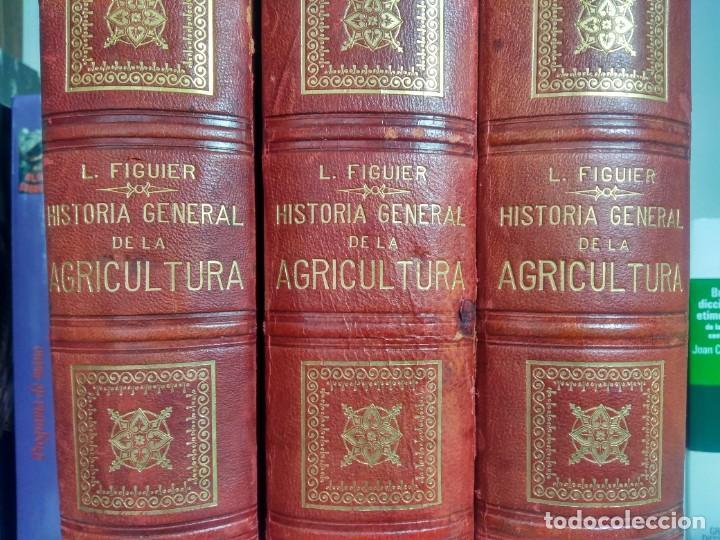 Libros antiguos: HISTORIA GENERAL DE LA AGRICULTURA - L. FIGUIER - FINES DEL S. XIX - 3 TOMOS - MEDIA PIEL - Foto 3 - 237272205