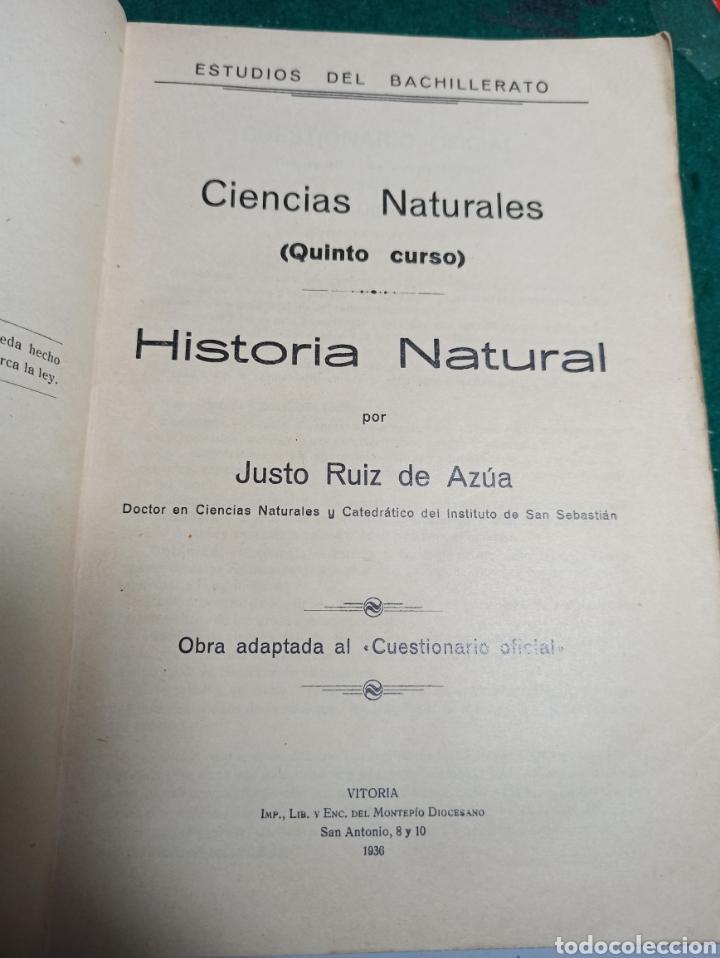 Libros antiguos: Ciencias Naturales. Historia Natural quinto curso. Justo Ruiz de Azua. 1936 - Foto 2 - 239462000