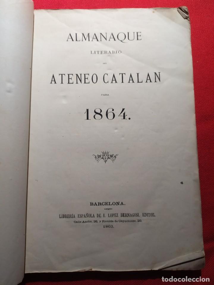 1863. ALMANAQUE LITERARIO DEL ATENEO CATALÁN PARA 1864. (Libros Antiguos, Raros y Curiosos - Bellas artes, ocio y coleccionismo - Otros)