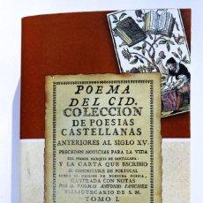 Libros antiguos: POEMA DEL MÍO CID. PRECEDEN CARTA Y NOTICIAS PARA LA VIDA DEL MARQUES DE SANTILLANA. 1ª ED., DE 1779. Lote 240029890