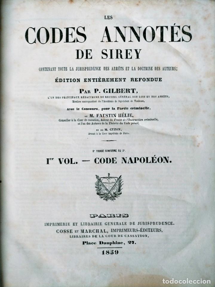 SIREY CODES NAPOLEON 1859 CODE CIVIL (Libros Antiguos, Raros y Curiosos - Otros Idiomas)