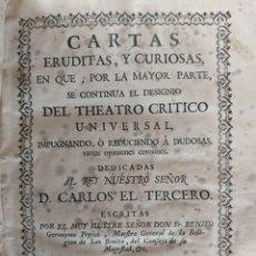 Libros antiguos: 1760 FRAY BENITO GERONIMO FEYJOO - CARTAS ERUDITAS Y CURIOSAS TOMO SEXTO ENCUADERNACION PERGAMINO. Lote 240452445