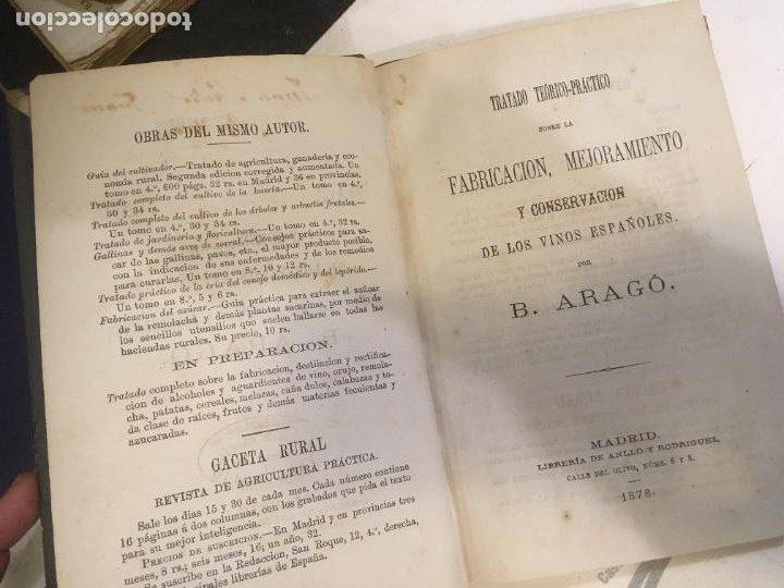 FABRICACIÓN MEJORAMIENTO Y CONSERVACIÓN DE LOS VINOS ESPAÑOLES B. ARAGÓ 1878 ,PRIMERA EDICION (Libros Antiguos, Raros y Curiosos - Cocina y Gastronomía)
