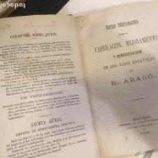 Libros antiguos: FABRICACIÓN MEJORAMIENTO Y CONSERVACIÓN DE LOS VINOS ESPAÑOLES B. ARAGÓ 1878 ,PRIMERA EDICION. Lote 240700290