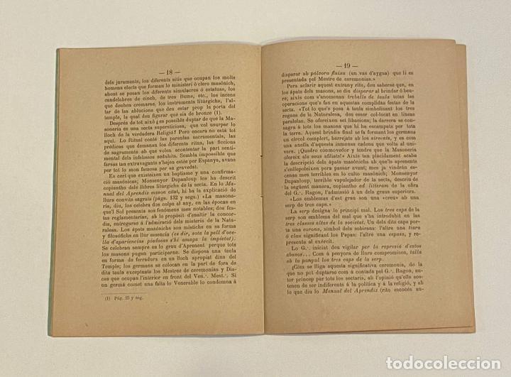 Libros antiguos: ¿QUÉ ES LA MASONERÍA? - TORRAS Y BÁGES, Joseph. - Foto 3 - 240854035