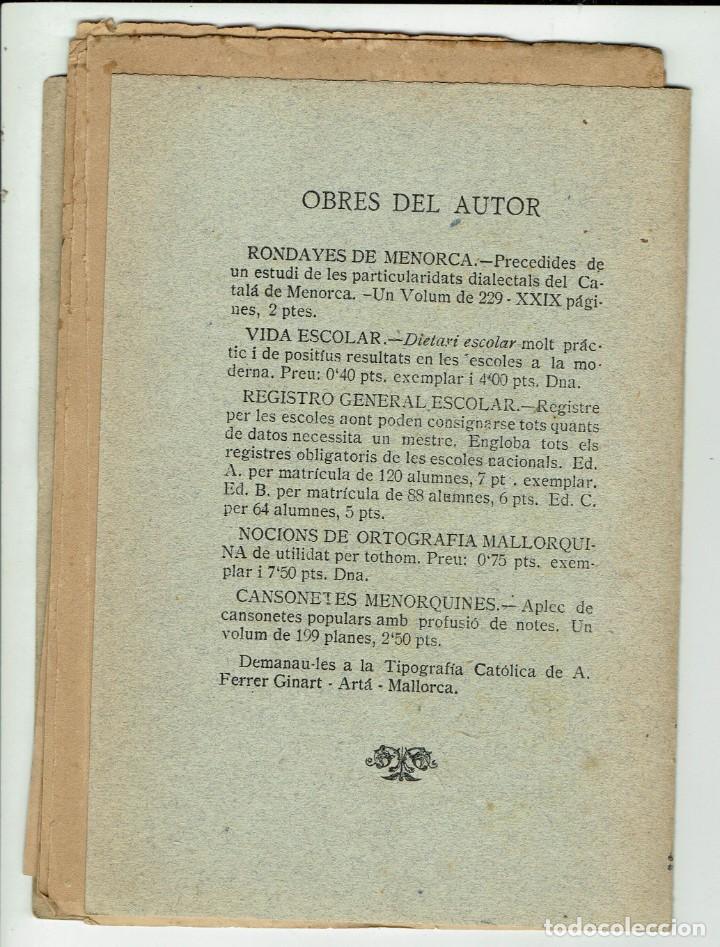 Libros antiguos: FOLK-LORE BALEAR. VOLUM II. CANÇONETES MENORQUINES. ANDREU FERRER GINART (MENORCA 5.7) - Foto 2 - 243325710