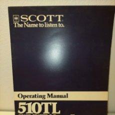 Libros antiguos: MANUAL DE USO 510 TL SCOTT /88/. Lote 243825035