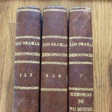 Libros antiguos: LOS DRAMAS DESCONOCIDOS - FEDERICO SOULIE - 7 TOMOS EN 3 VOLUMENES. Lote 243989770