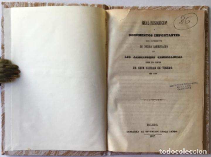 Libros antiguos: REAL RESOLUCION Y DOCUMENTOS IMPORTANTES DEL ESPEDIENTE DE CONCURSO ADMINISTRATIVO DE LOS... - Foto 1 - 243997105