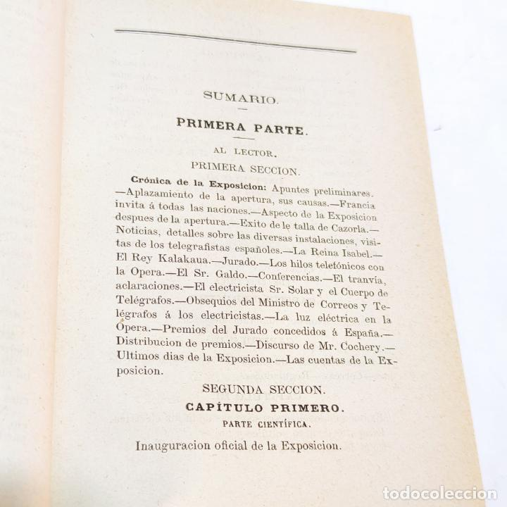 Libros antiguos: La exposición internacional de la electricidad y congreso de electricistas. Eduardo Vicenti. 1882. - Foto 4 - 244000940