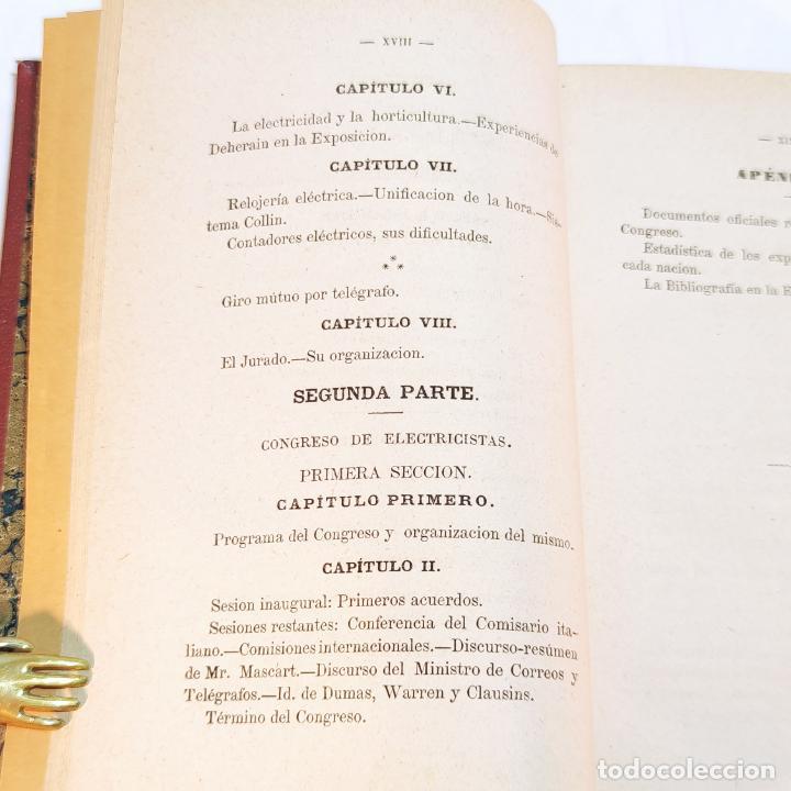Libros antiguos: La exposición internacional de la electricidad y congreso de electricistas. Eduardo Vicenti. 1882. - Foto 9 - 244000940