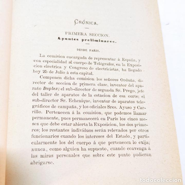 Libros antiguos: La exposición internacional de la electricidad y congreso de electricistas. Eduardo Vicenti. 1882. - Foto 11 - 244000940