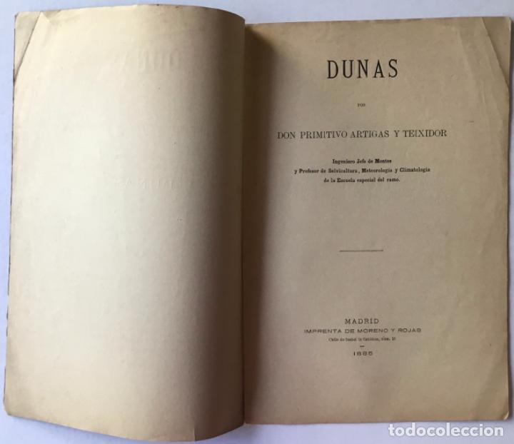 Libros antiguos: DUNAS. - ARTIGAS Y TEIXIDOR, Primitivo. - Foto 2 - 244006850