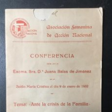Libros antiguos: ASOCIACIÓN FEMENINA DE ACCIÓN SOCIAL , REPUBLICA , 1932 ,MADRID, CONFERENCIA FEMINISTA.. Lote 244403020