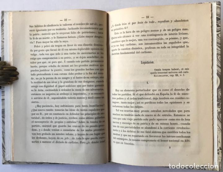 Libros antiguos: EL TRONO Y LOS CARLISTAS. Consideraciones sobre una cuestion de actualidad. - INDALECIO CASO, José. - Foto 4 - 244484490