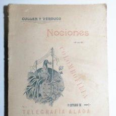 Libros antiguos: CULLEN Y VERDUGO. NOCIONES DE COLOMBOFILIA Y ESTUDIO DE TELEGRAFÍA ALADA. CANARIAS. 1900. DEDICADO.. Lote 244498445