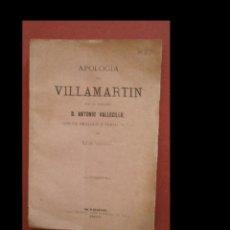 Libros antiguos: APOLOGIA DE VILLAMARTIN. ANTONIO VALLECILLO. Lote 244815070