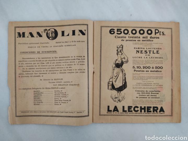 Libros antiguos: Manolín revista semanal 1929 10cts - Foto 3 - 244822375