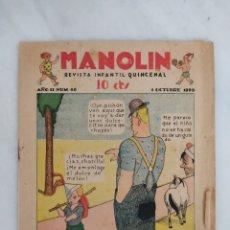 Libros antiguos: MANOLÍN REVISTA SEMANAL 1929 10CTS. Lote 244822375