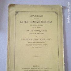 Libros antiguos: DISCURSOS LEIDOS ANTE LA REAL ACADEMIA SEVILLANA POR D. LUIS VIDART SCHUCH Y FERNANDO DE GABRIEL Y. Lote 245038675