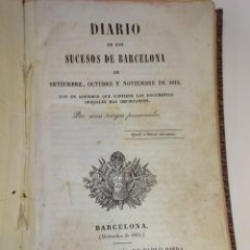 Libros antiguos: DIARIO SUCESOS BARCELONA SEP-OCT-NOV. 1843. IMPRENTA PABLO RIERA. Lote 245204195
