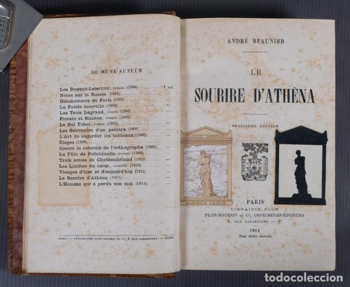 Libros antiguos: Le sourire d'Athèna-André Beaunier-Librairie Plon 1911 - Foto 5 - 245640315