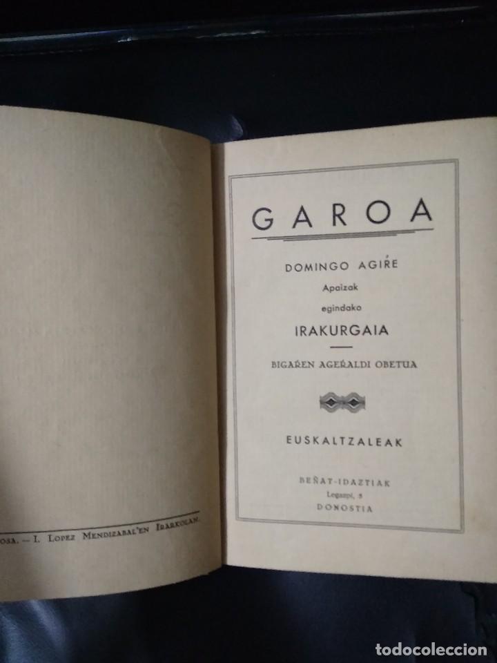 GAROA / DOMINGO AGIRE / EUSKALTZALEAK / 1935 (Libros Antiguos, Raros y Curiosos - Pensamiento - Otros)