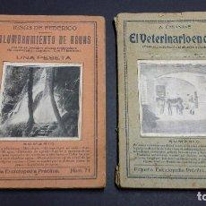 Libros antiguos: PEQUEÑA ENCICLOPEDIA PRÁCTICA, Nº 71 ALUMBRAMIENTO DE AGUAS Y Nº 87 EL VETERINARIO EN CASA.. Lote 246321920