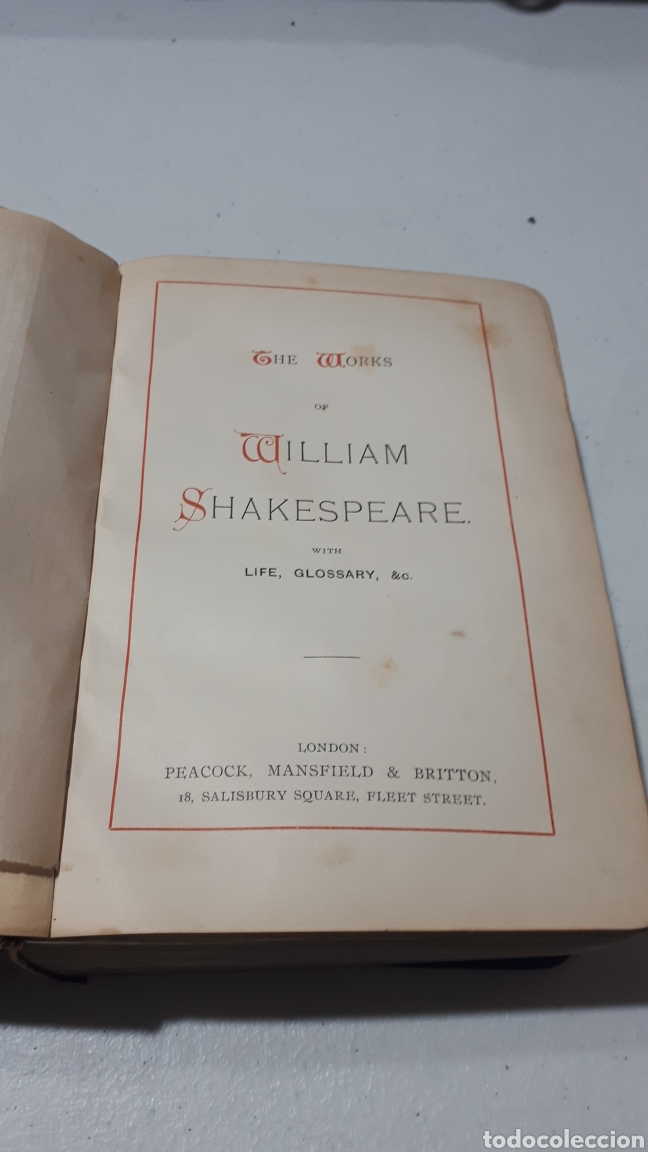 Libros antiguos: THE WORKS OF WILLIAM SHAKESPEARE WITH LIFE GLOSSARY & C. 1898 PEACOCK MANSFIELD & BRITTON - Foto 10 - 246432675